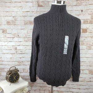 Duck Head M Gray 1/4 Zip Cable Mock Neck Sweater